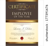 certificate  employee of the... | Shutterstock .eps vector #177391676