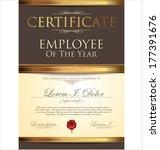 certificate  employee of the... | Shutterstock .eps vector #177391676