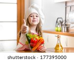 cook kid girl with vegetables... | Shutterstock . vector #177395000
