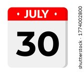 july 30 calendar icon with...   Shutterstock .eps vector #1774002800
