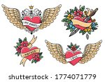 set of heart tattoos in old... | Shutterstock .eps vector #1774071779