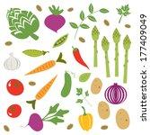 fresh farmers market vegetables ... | Shutterstock .eps vector #177409049