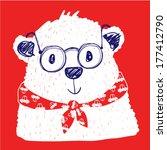 Cute Polar Bear On A Red...