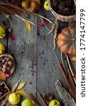 Autumn Still Life On A Wooden...