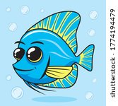 Blue Tang Cartoon Cute Fish...