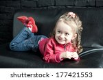 little girl in leather red rock ... | Shutterstock . vector #177421553
