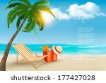 seaside view with a palm tree ...   Shutterstock .eps vector #177427028
