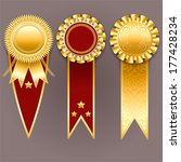 Set of gold and red badges with ribbons. Vector champion medals.