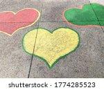 Heart Shaped Chalk Drawings On...