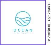 ocean in a circle. simple and... | Shutterstock .eps vector #1774296896