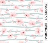 watercolor pink sakura or... | Shutterstock .eps vector #1774302059
