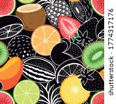 tropical fruits colorfull and... | Shutterstock .eps vector #1774317176