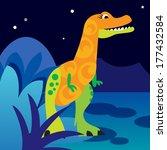 Cute Orange Dinosaur On Night...