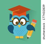 owl design over blue ... | Shutterstock .eps vector #177432839