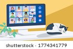 video conferencing at home ... | Shutterstock .eps vector #1774341779