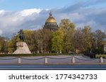 The Bronze Horseman is an equestrian statue of Peter the Great in the Senate Square.  Gold dome of St. Isaac