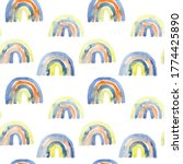 rainbow seamless pattern  hand... | Shutterstock . vector #1774425890