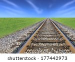 Railway Track  Green Grass And...
