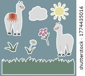 stickers set  cute adorable... | Shutterstock .eps vector #1774435016
