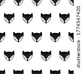 fox. black and white seamless... | Shutterstock .eps vector #1774547420