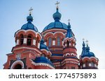Beautiful architecture of Kazan Church an iconic Orthodox church in the city of Irkutsk, Russia. Kazan Icon of the Mother of God. It is known for the Irkutsk's largest church bell.