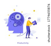 human head with gear wheels... | Shutterstock .eps vector #1774655876