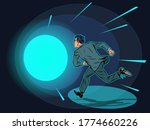 death a man runs in a tunnel of ... | Shutterstock .eps vector #1774660226