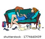 beautiful woman at home with a...   Shutterstock .eps vector #1774660439