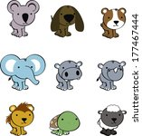 sweet baby animals cartoon cute ... | Shutterstock .eps vector #177467444