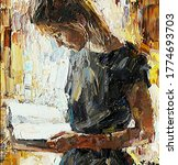 Young Girl Reading Book. Oil...