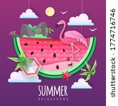 slice of watermelon with sea or ... | Shutterstock .eps vector #1774716746