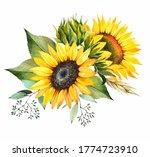 Sunflower Bouquet. Yellow...