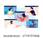 online party. friends celebrate ... | Shutterstock .eps vector #1774757606