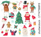 christmas characters. cartoon... | Shutterstock .eps vector #1774758893