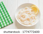 Raw Squid   Rings On A White...