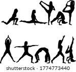 set silhouette girl on yoga... | Shutterstock .eps vector #1774773440