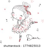 beautiful cute girl drawn by... | Shutterstock .eps vector #1774825013