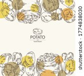 background with potatoes and... | Shutterstock .eps vector #1774838030