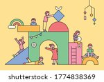 children are playing in a huge... | Shutterstock .eps vector #1774838369