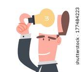 businessman with light bulb   Shutterstock .eps vector #177484223