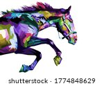 colorful horse running isolated ...