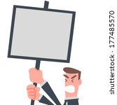 businessman with notice board | Shutterstock .eps vector #177485570