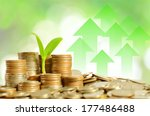 money coins pile and young tree ... | Shutterstock . vector #177486488