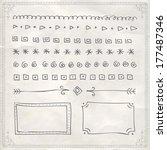 doodle border rectangle nails... | Shutterstock .eps vector #177487346