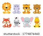 Cute Wild Animals Set Including ...