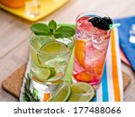 two refreshing summer cocktails ...   Shutterstock . vector #177488066