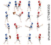 A vector illustration of Boy and girl in taekwondo in different positions