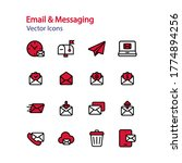 set of line flat icon email and ...