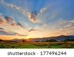 Colorful Autumn Sunset With Su...