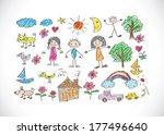 children's drawings idea design | Shutterstock .eps vector #177496640
